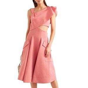 CARVEN Cutout Ruffled Cotton Blend Twill Dress